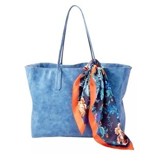 Saks Fifth Avenue Soft Blue Faux Leather Tote Bag